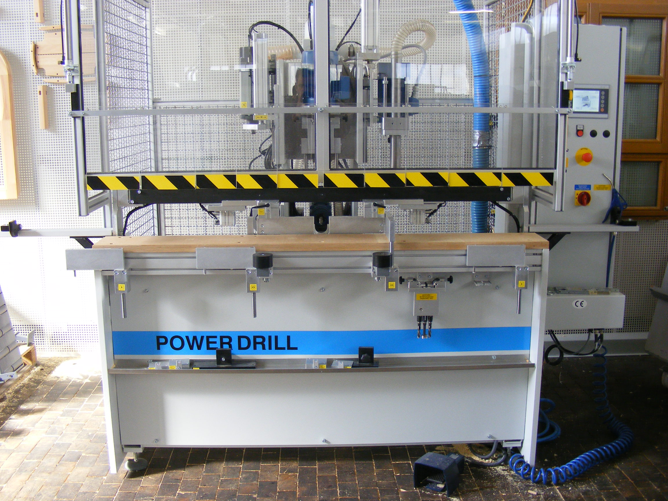 Power Drill window drilling machine in workshop environment