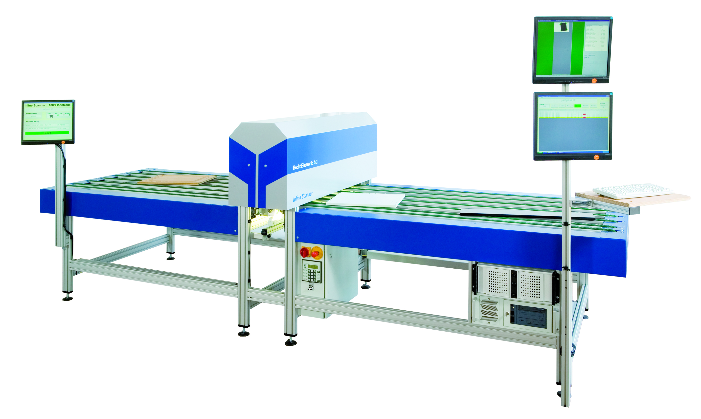 4i Inlinescanner - Continuous measuring system with screens for furniture parts