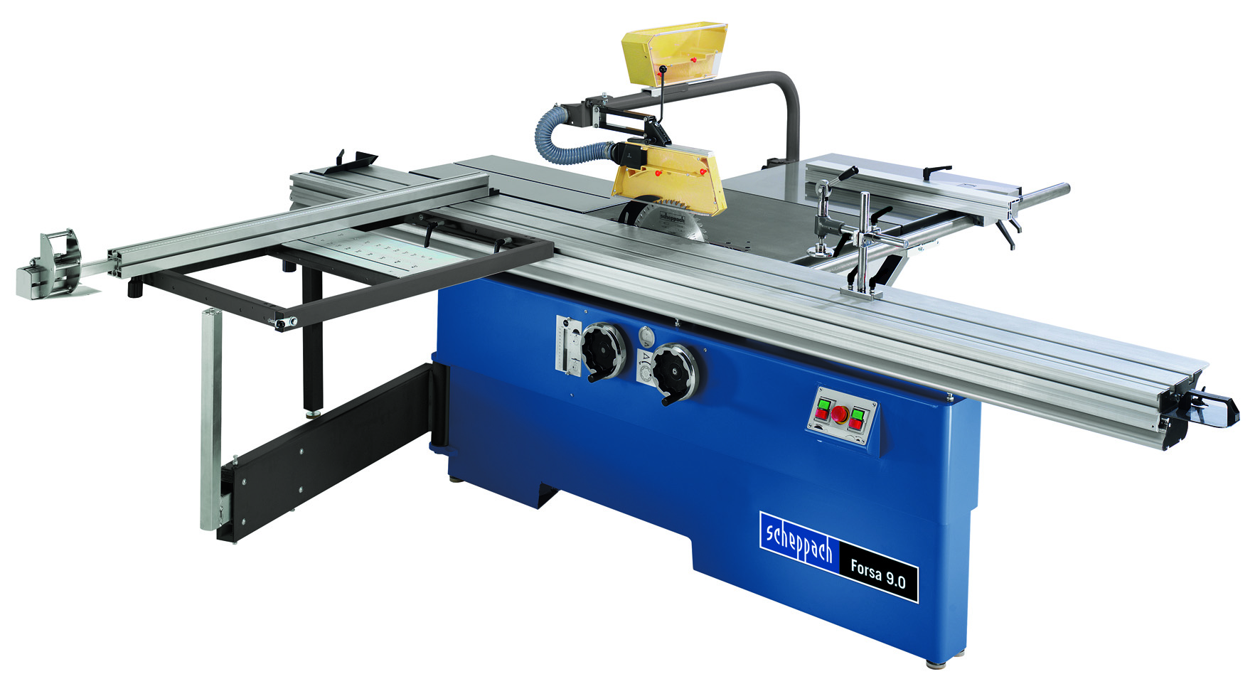 Forsa 9.0 sliding table saw from Scheppach with optional accessories