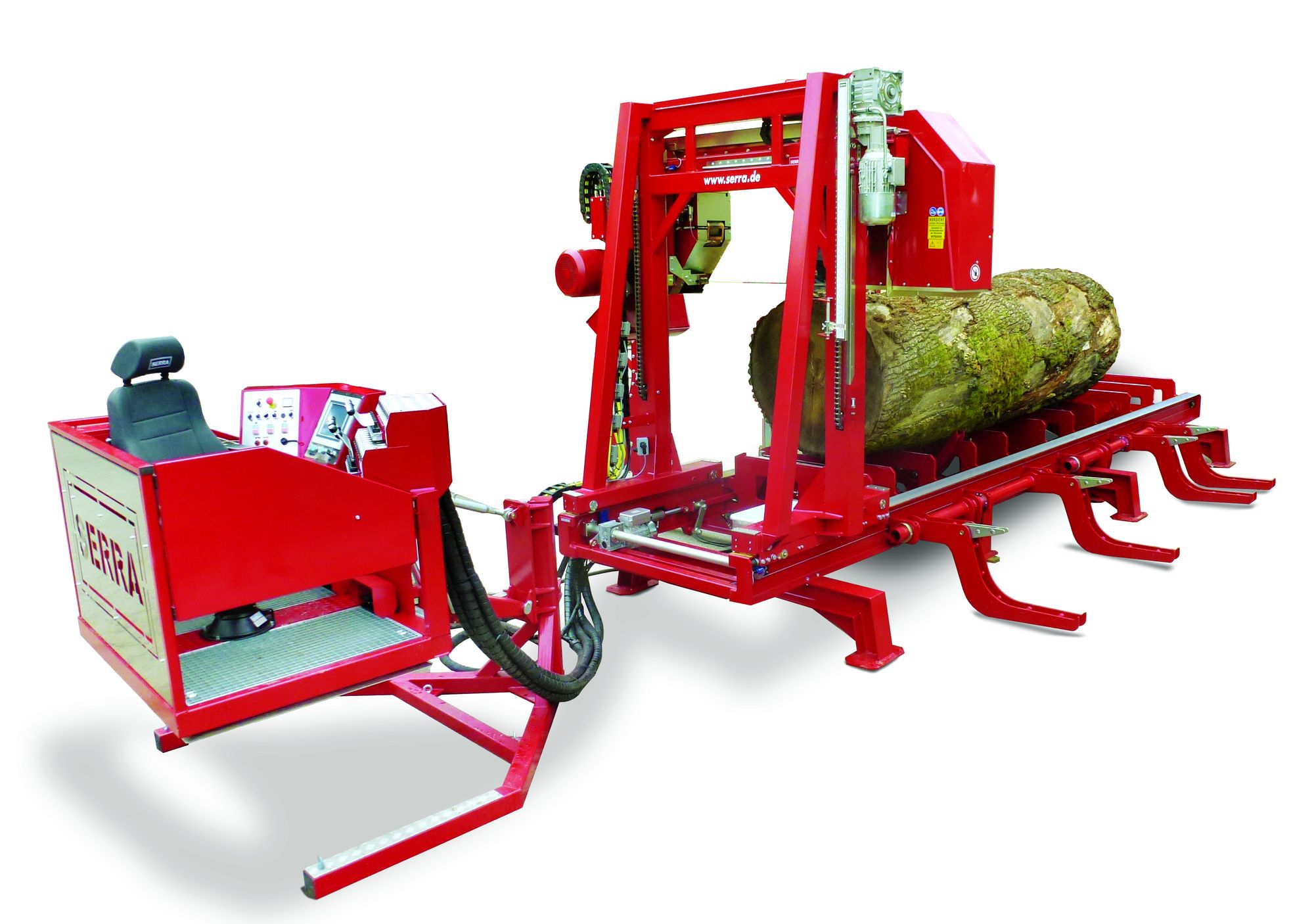 Serra log band saw with maximum equipment for large logs.
